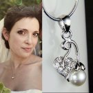 Simple Bridal Pearl Cherry Swarovski Crystal Necklace