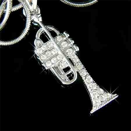 Classy Trumpet Swarovski Crystal Necklace