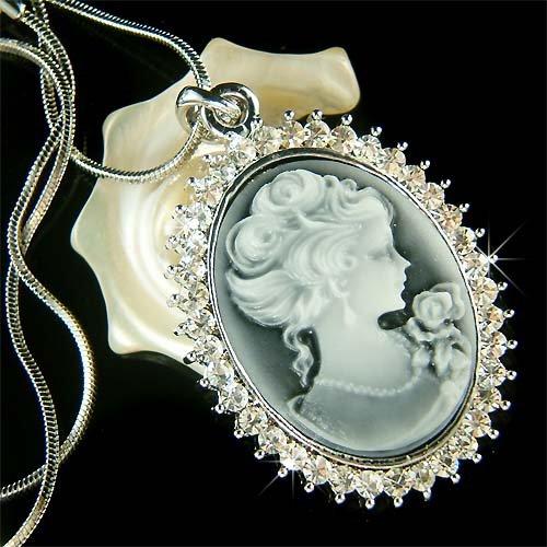 Classy Bridal Black Cameo Clear Swarovski Crystal Necklace