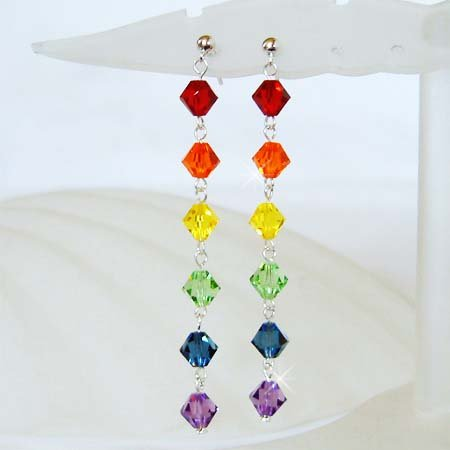 Swarovski Rainbow Chakra Crystal Sterling Silver Stud Earrings