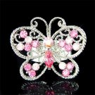 Big Cutout Pink Swarovski Crystal Butterfly Ring