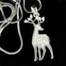 Bull Elk Big Antlers Crystal Necklace for Hunter / Hunting Fans