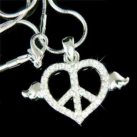 Boho Heart Peace Sign Angel Wings Swarovski Crystal Necklace