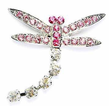 Dangling Pink Rose Swarovski Crystal Dragonfly Brooch