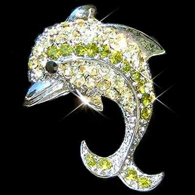Dolphin Christmas Green Swarovski Crystal Brooch