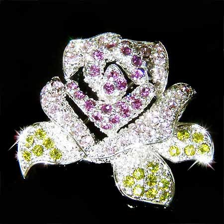 Purple Rose Flower Swarovski Crystal Mother of Bride Brooch