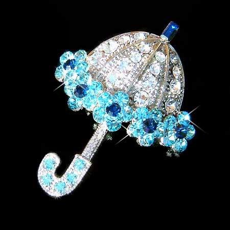 Swarovski Crystal Fairy Aqua Blue Umbrella Brooch