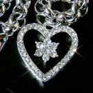 Heart Flower Swarovski Crystal Bridal Bracelet
