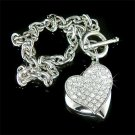 Double Heart Charm Friendship Swarovski Crystal Toggle Bracelet