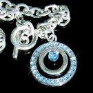 Circle of Love Something Blue Swarovski Crystal Toggle Bracelet