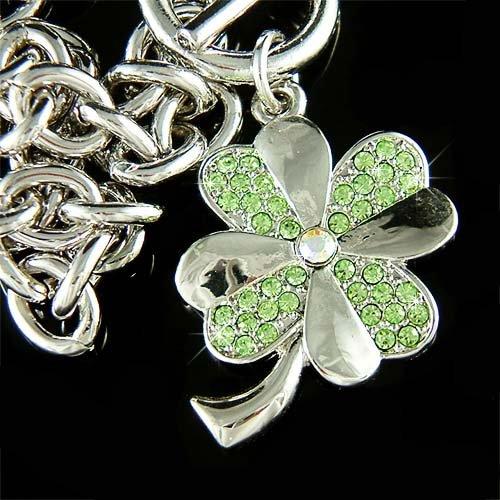 Lucky Four-Leaf Clover Shamrock Swarovski Crystal Bracelet