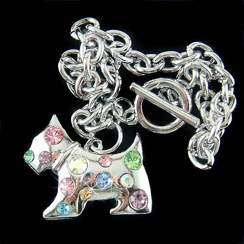 Scottish Terrier Westie Dog Swarovski Crystal Toggle Bracelet