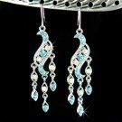 Blue Chandelier Bridal Wedding Party Swarovski Crystal Earrings