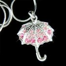 Umbrella Pink Rose Swarovski Crystal Necklace for Rainy Day