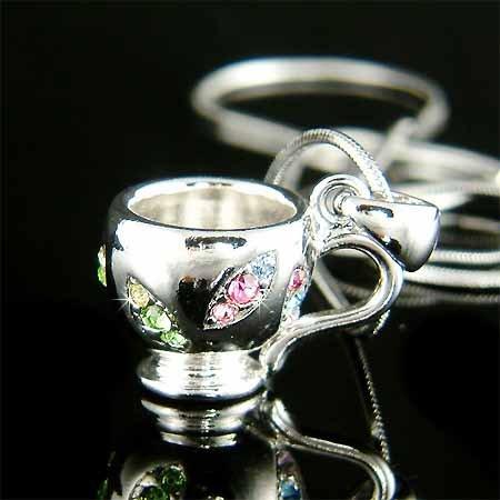 Tea Coffee Cup Swarovski Multi Color Crystal Necklace