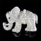 Lucky Elephant Swarovski Clear Crystal Brooch
