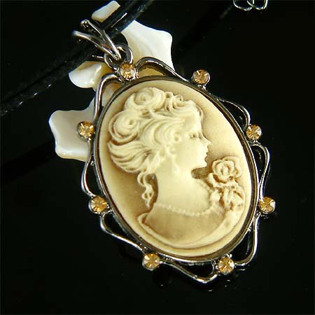 Antique Topaz Gold Cameo with Swarovski Crystal Leather Necklace