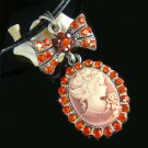 Victorian Christmas Red Cameo Swarovski Crystal Leather Necklace