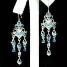 Swarovski Aqua Crystal Chandelier Something Blue Bridal Earrings
