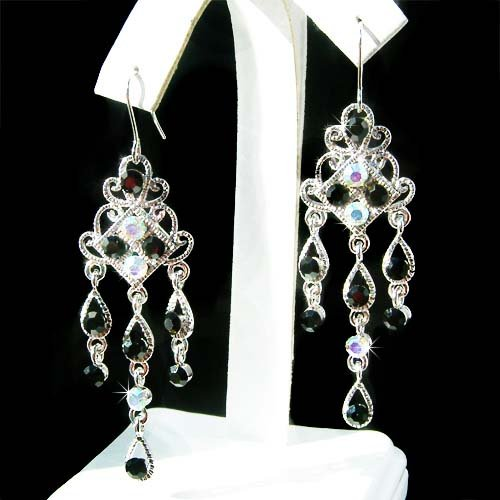 Black Swarovski Crystal Chandelier Party Earrings