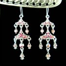 Pink Chandelier Bridal Wedding Party Swarovski Crystal Earrings
