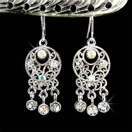 Indian Style Swarovski Clear Crystal Dangle Bridal Earrings
