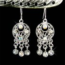 Indian Style Swarovski Clear Crystal Dangle Bridal Earrings