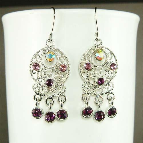 Circle Round Swarovski Purple Crystal Dangle Earrings