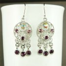 Circle Round Swarovski Purple Crystal Dangle Earrings