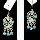 Native American Style Swarovski Blue Crystal Dangle Earrings