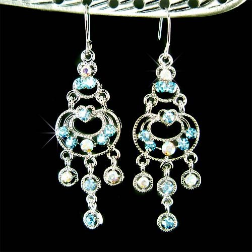 Something Blue Bridal Swarovski Aqua Crystal Chandelier Earrings