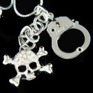 Hip Hop Skull Crossbone Handcuff US Army Crystal Necklace
