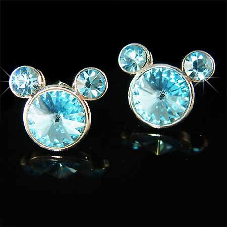 Micky Mouse Swarovski Aqua Rivoli Crystal Earrings