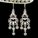 Swarovski Crystal Pink Rose Chandelier Bridal Earrings