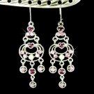 Bridal Purple Swarovski Crystal Chandelier Celebrity Earrings