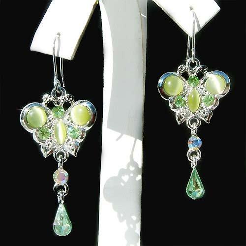 Christmas Holiday Butterfly Swarovski Crystal Pierced Earrings