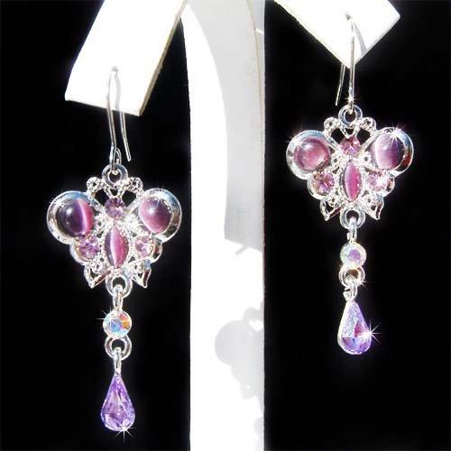 Purple Butterfly Swarovski Crystal Cat's Eye Beautiful Earrings