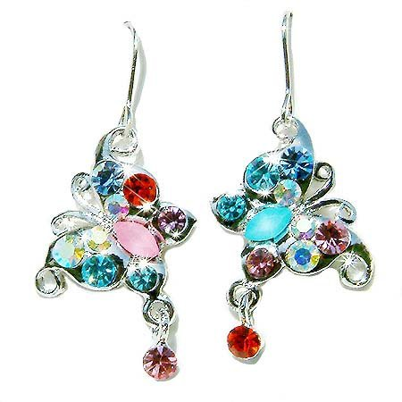 Swarovski Colorful Crystal Butterfly Prom Bridal Earrings
