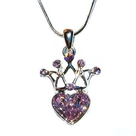 Cute Swarovski Purple Crystal Queen Crown Heart Pendant Necklace