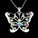 Big Cutout Butterfly Swarovski Rainbow Crystal Necklace