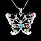 Big Cutout Butterfly Swarovski Rainbow Crystal Necklace