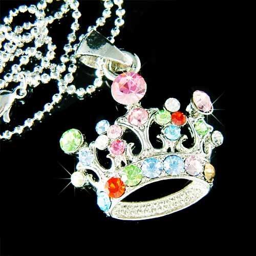 Swarovski Crystal Rainbow Royal Crown Pendant Necklace