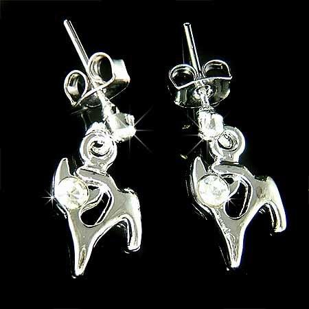 Kitty Cat Swarovski Clear Crystal Cute Kitten Stud Earrings