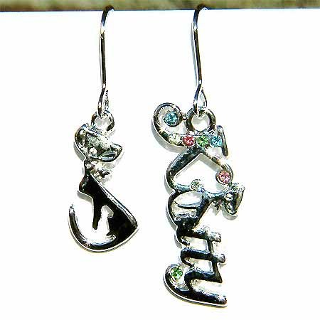Swarovski Crystal Cute Kitty Cat Letter Animal Lover Earrings