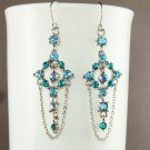 Swarovski Teal Crystal Something Blue Bridal Dangle Earrings