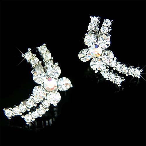 Bridal Flower Swarovski Crystal Cluster Stud Curve Earrings
