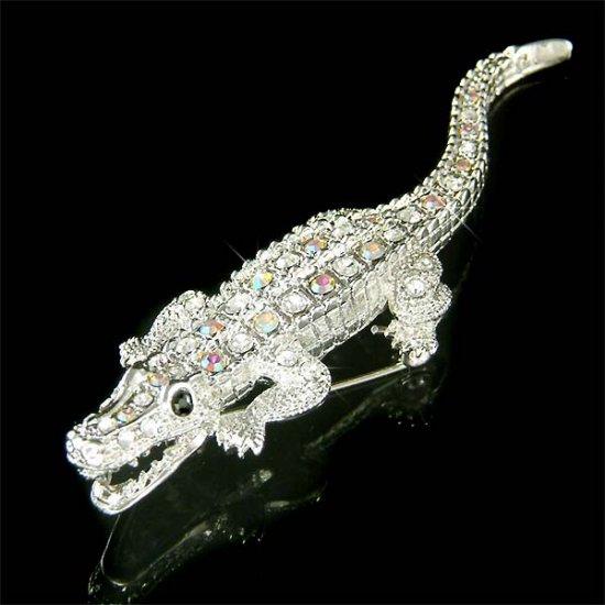 Swarovski Crystal Roaring Crocodile Aligator Wild Animal Brooch