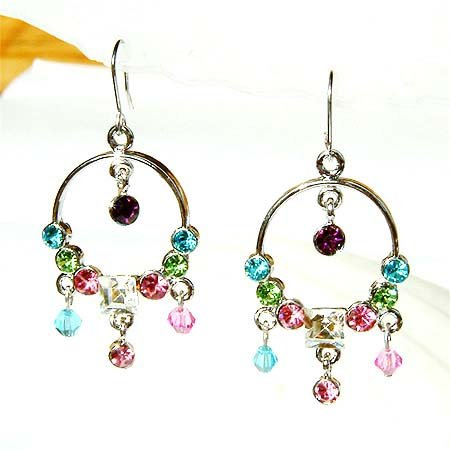 Swarovski Rainbow Crystal Bridal Circle of Love Earrings