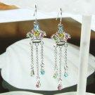Juicy Crown Swarovski Rainbow Crystal Long Dangle Earrings