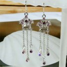 Juicy Royal Crown Swarovski Purple Crystal Long Dangle Earrings
